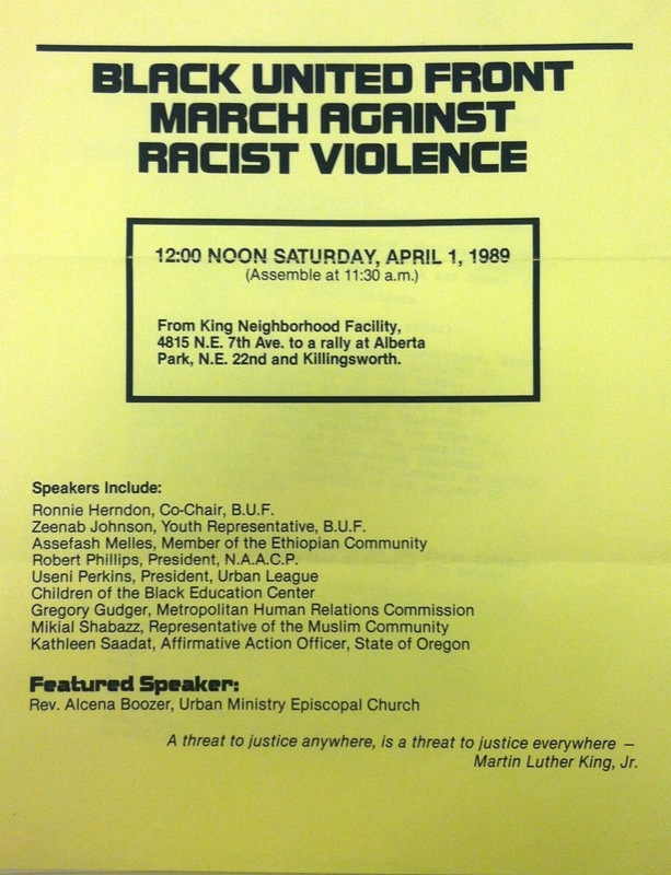 Black United Front March Flyer