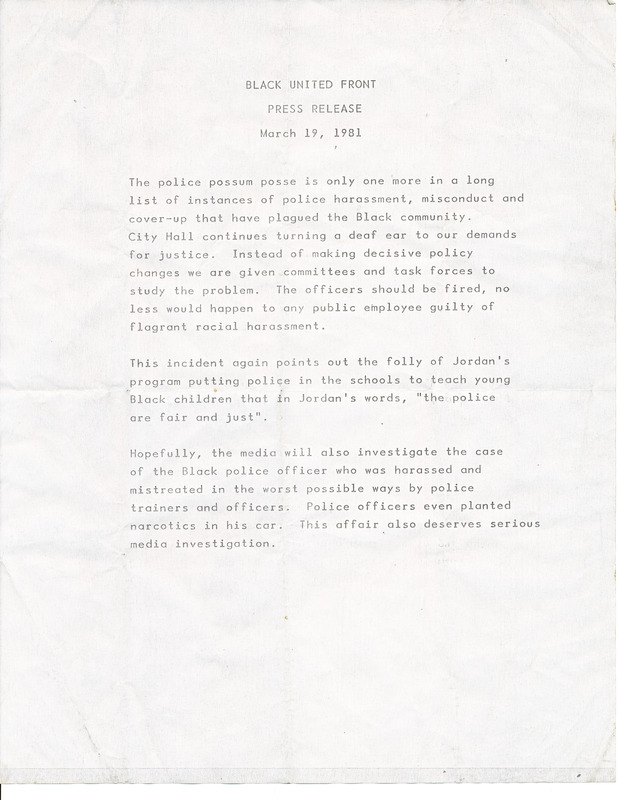 """Press release on """"Police Possum Posse,"""" Black United Front, March 19, 1981"""