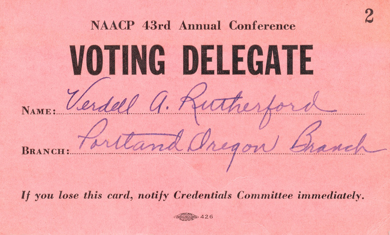 Verdell Rutherford's NAACP delegate card