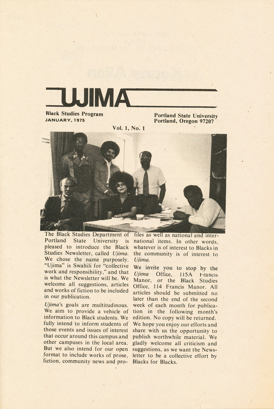 Ujima, vol.1 no.1 (January 1975) front cover