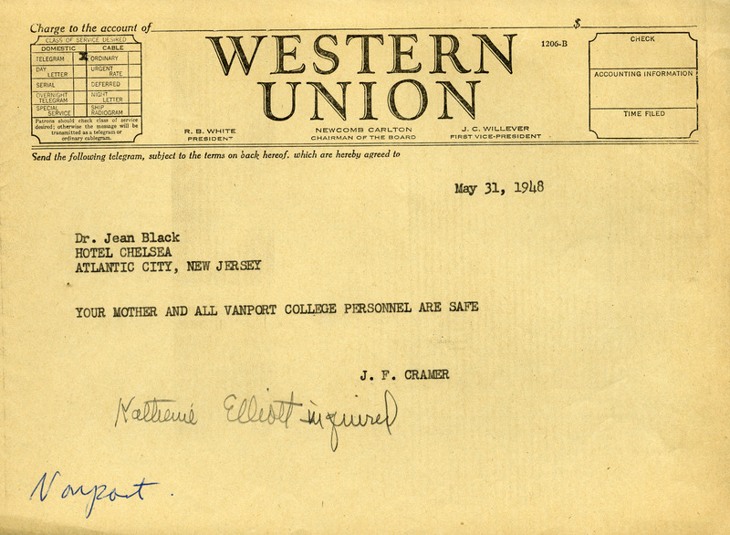 Telegram to Dr. Black
