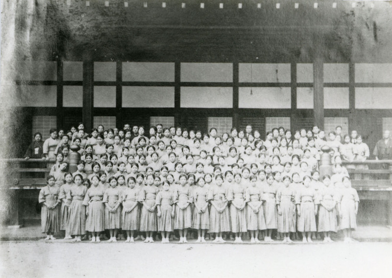 Female factory workers who were instructed in Buddhism and Japanese music and dance, Kyoto, late 1920s