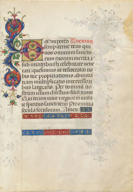 Leaf from a book of hours in Latin (recto)