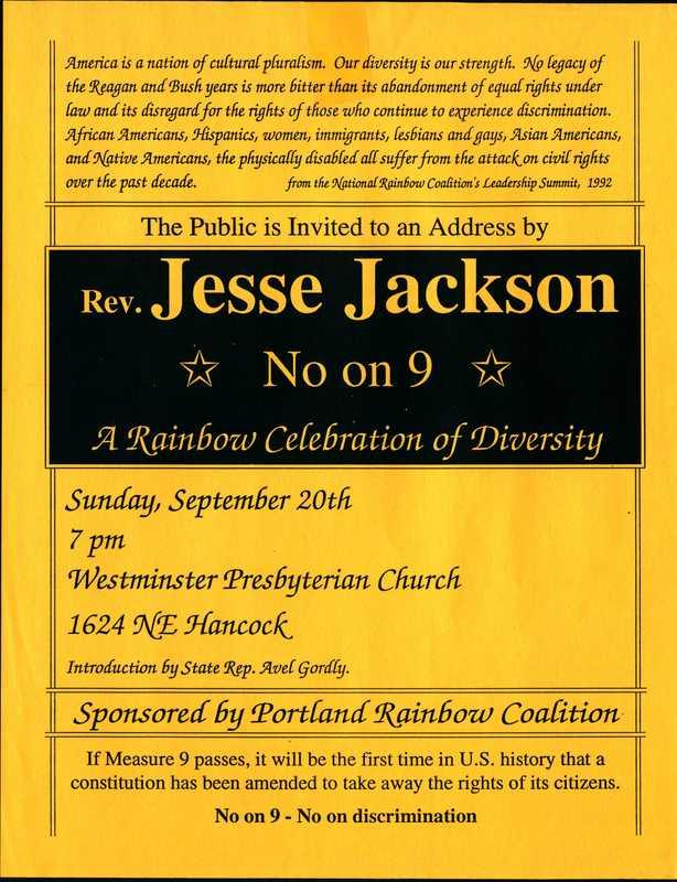 Portland Rainbow Coalition No On 9 Event (1992)