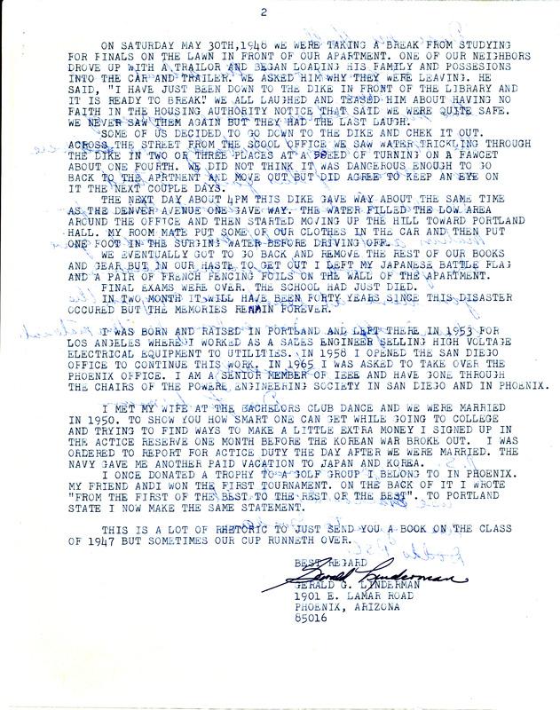 Letter from Gerald Linderman, former Vanport student, to <em>Vanguard</em> in 1988 [Page 2]