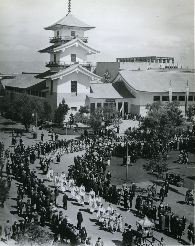 Buddhist Day Parade during the International Exposition at Treasure Island, San Francisco, California, August 1940.