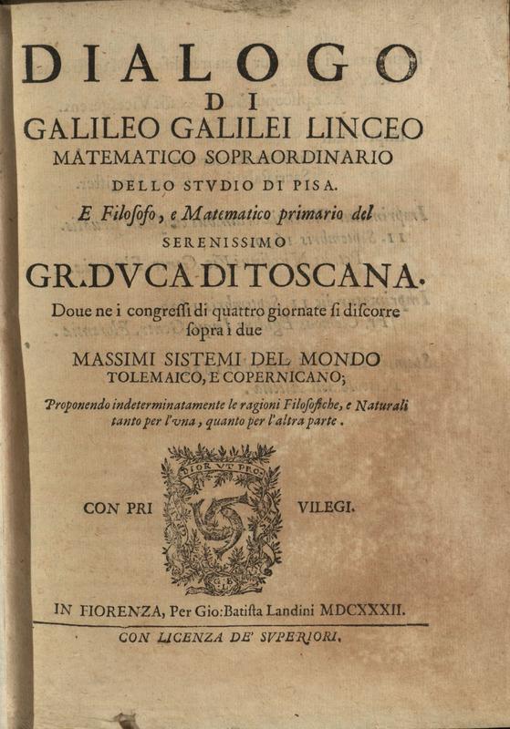 Title page, Dialogo di Galileo Galilei, 1632