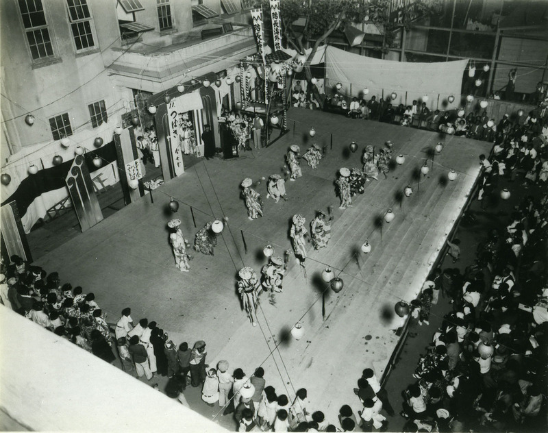 Doyo buyo recital on outdoor stage in Sacramento, 1930s.