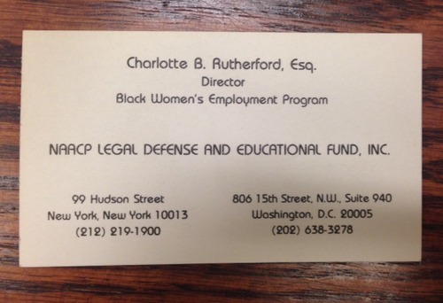 Charlotte Rutherford NAACP Business Card