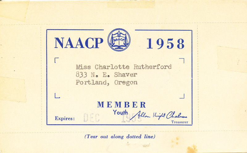 NAACP youth membership card (Charlotte Rutherford)