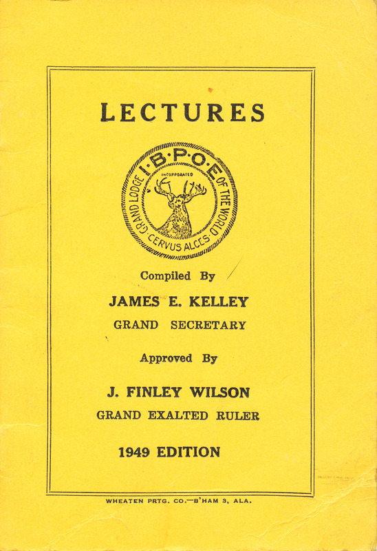 Elks lecture book cover
