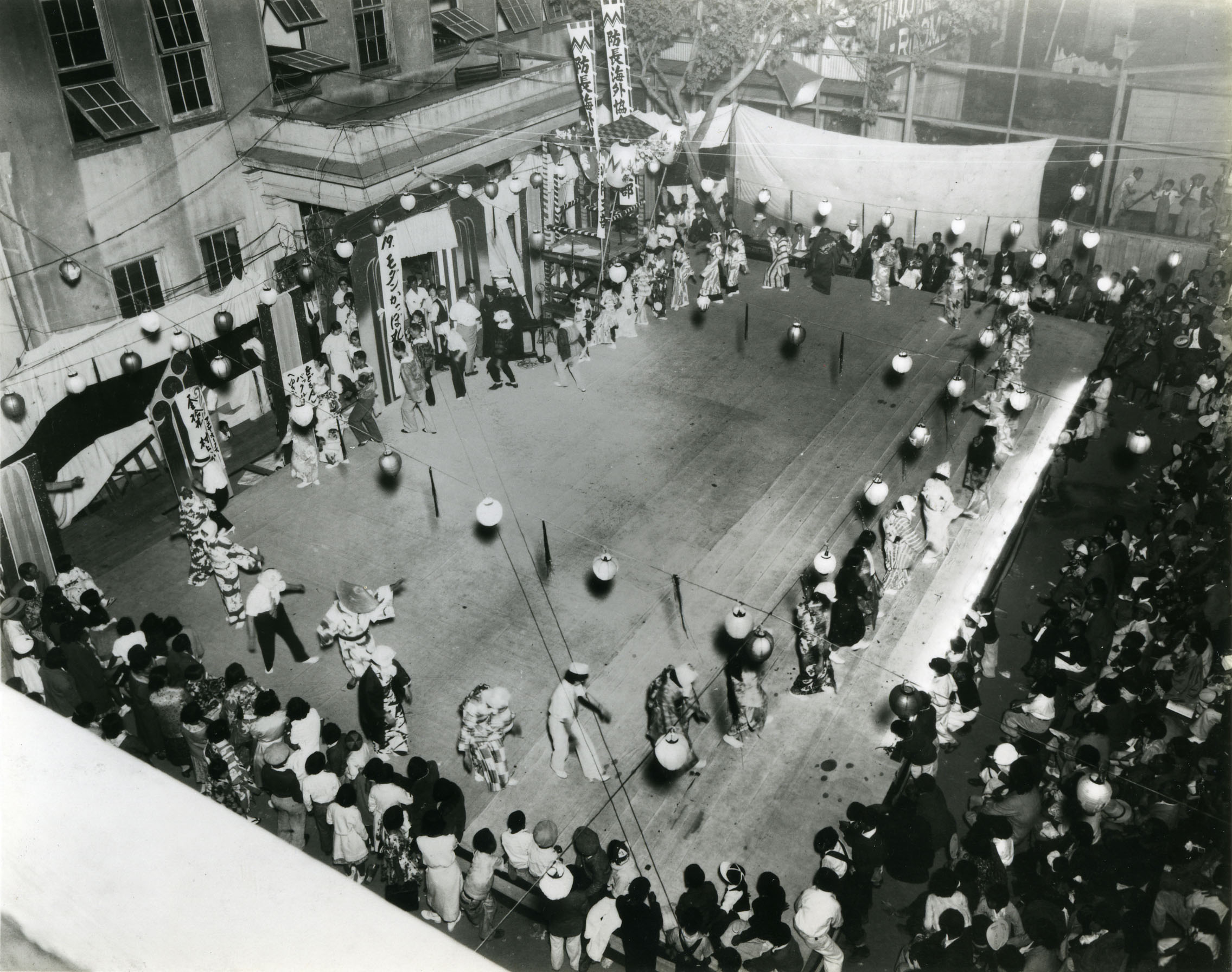 Bon odori on outdoor stage in Sacramento, 1930s. <br />