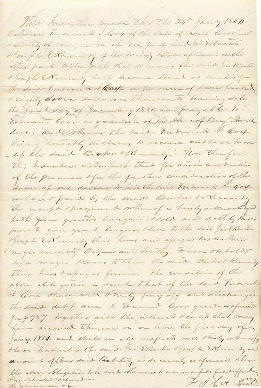 Mortgage Deed for Two Slaves