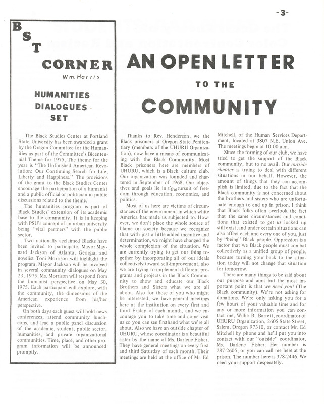 "Ujima vol. 1 no. 3 p. 3, ""An Open Letter to the Community"""