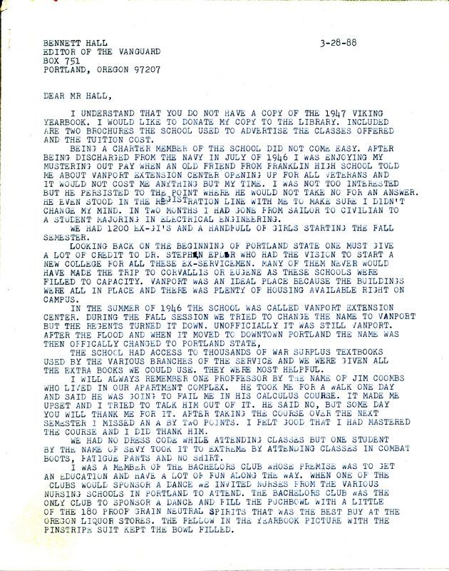 Letter from Gerald Linderman, former Vanport student, to <em>Vanguard</em> in 1988 [Page 1]