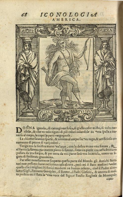 """""""America,"""" p.68 pt.2, Iconologia di Cesare Ripa"""