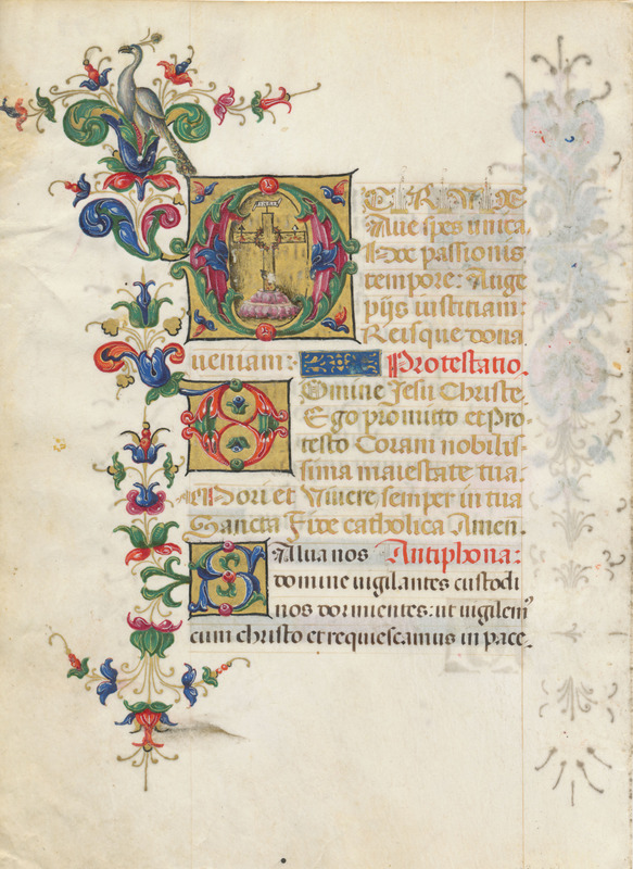 Leaf from a book of hours in Latin (verso)