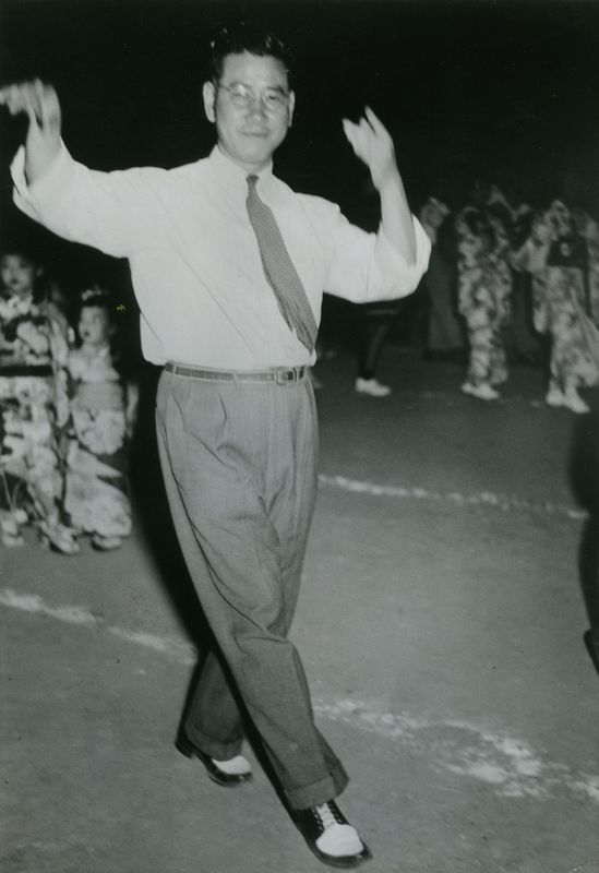 Iwanaga dancing at an obon festival, late 1940s.