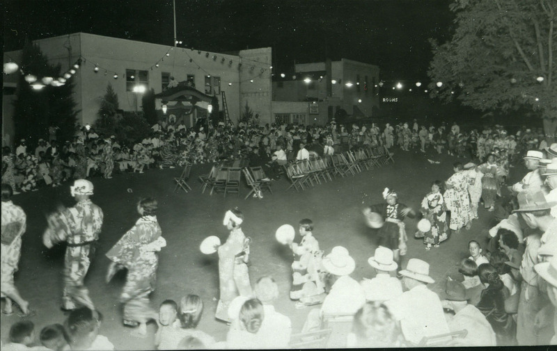 Bon odori with participants dancing clockwise, Sacramento, 1930s