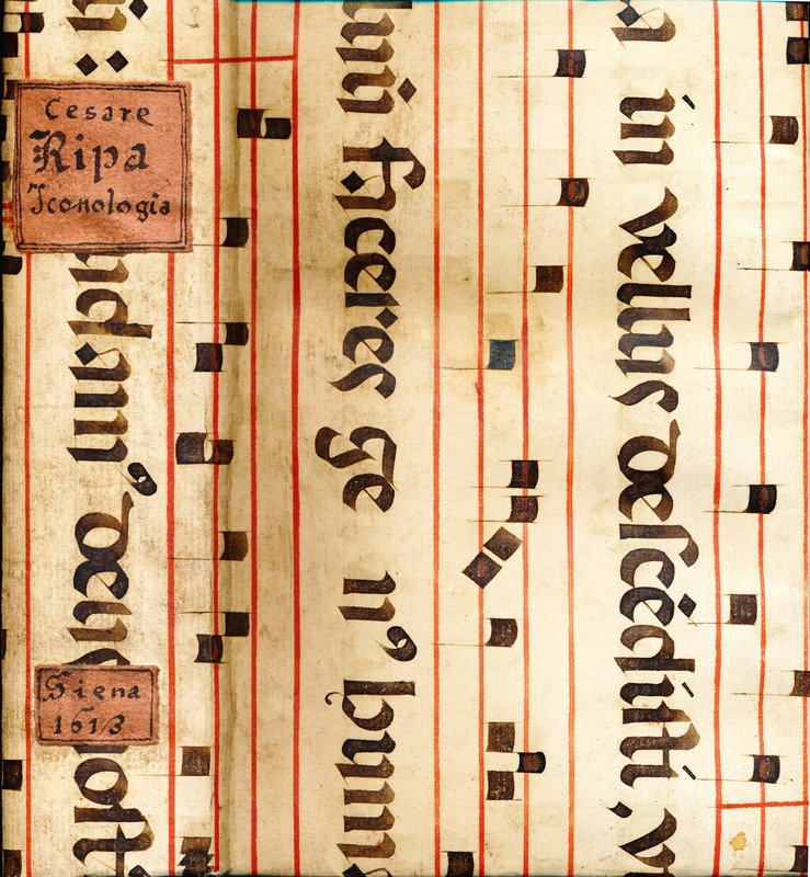 Spine and front cover of Ripa's Iconologia