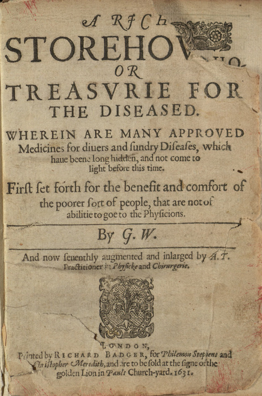 Title page, Treasurie for the Diseased 1631