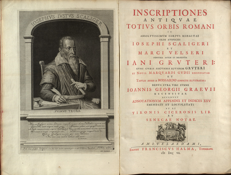 Frontispiece and title page, Jan Gruterus Inscriptiones 1707