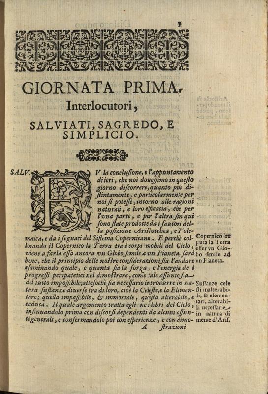 Giornata Prima, Dialogo di Galileo Galilei, 1632