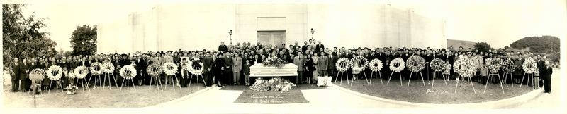 Iwanaga funeral photo at the Pajaro Valley Mausoleum in Watsonville, California, 1 June 1950.
