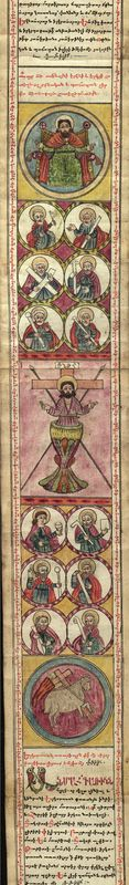 Armenian prayer scroll, illustrations of Christ and the Apostles