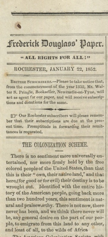 """The Colonization Scheme,"" <em>Frederick Douglass' Paper</em>"