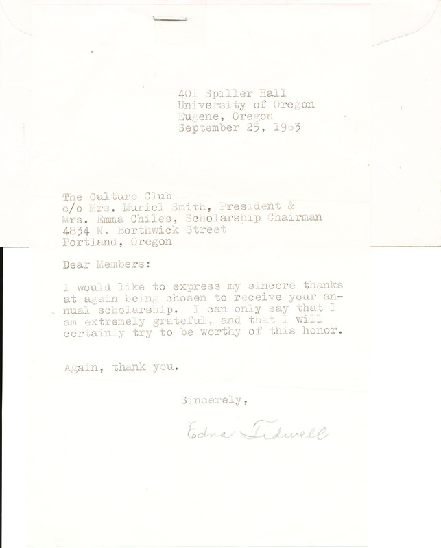 Letter from Edna Tidwell to Culture Club