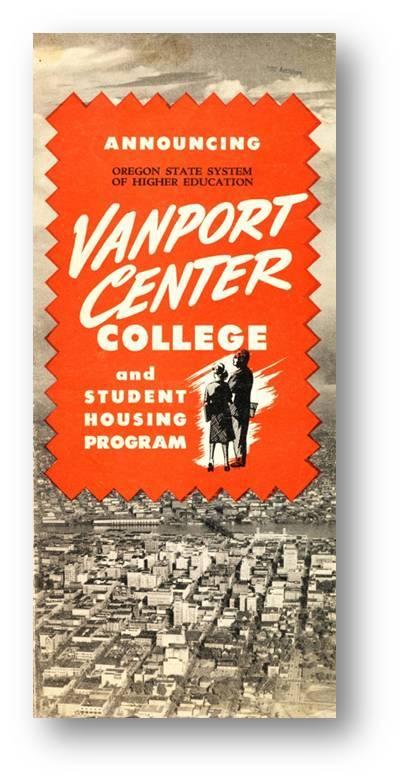 Cover of Vanport Center brochure in mid-1940s