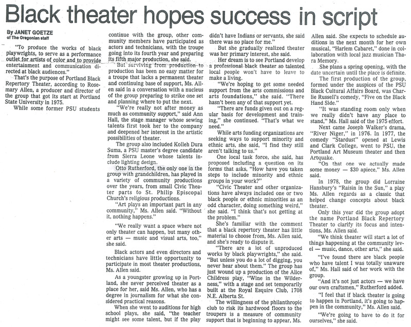Oregonian article on Portland Black Repertory Theater