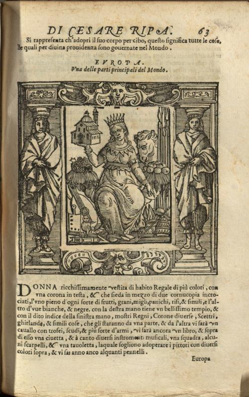 """""""Europa,"""" p. 63 pt. 2, <em>Iconologia</em> di Cesare Ripa"""