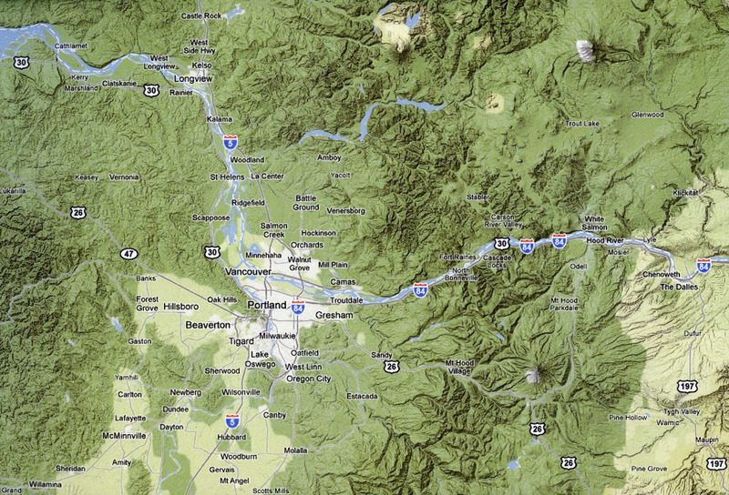 Modern map of the Columbia River region