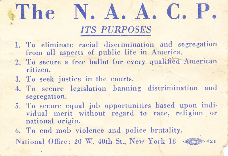 Reverse of NAACP youth membership card