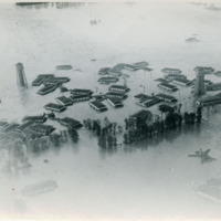 Flooded Vanport Extension Center buildings